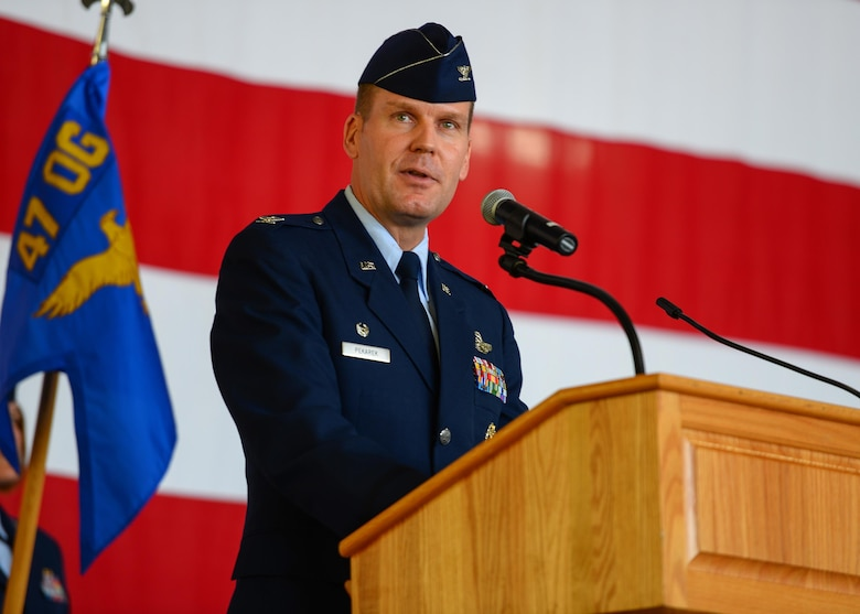 U.S. Air Force Col. Robert Pekarek, 47th Operations Group commander, speaks during the 47th OG Assumption of Command at Laughlin Air Force Base, Tx., June 22, 2017. Pekarek took command after previously serving as the joint doctrine development officer at the Joint Doctrine Analysis Division. (U.S. Air Force photo/Airman 1st Class Benjamin N. Valmoja)