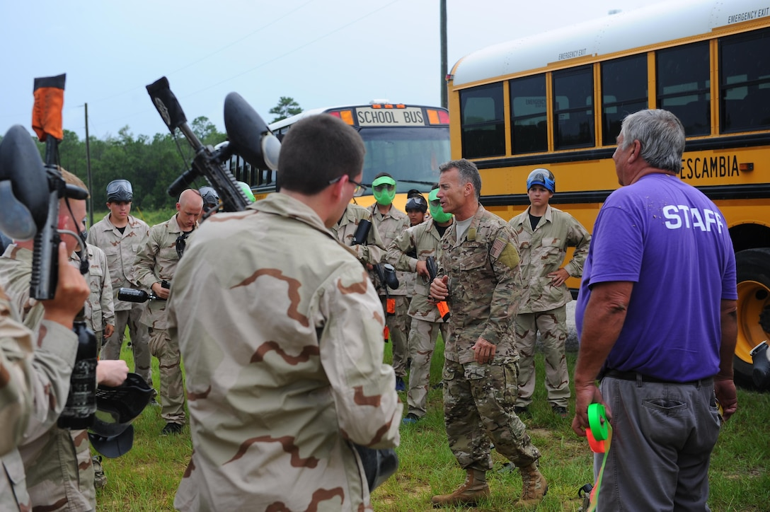 Retired Col. Ken Rodriguez, director of Junior ROTC Summer Leadership School, briefs cadets on the rules of paintball at Hurlburt Field, Fla., June 29, 2017. The JROTC Summer Leadership School program brought more than 50 cadets to Hurlburt Field to engage in a variety of team-building and leadership skill-developing exercises under the guidance of Air Commandos, June 26-30. (U.S. Air Force photo by Airman 1st Class Isaac O. Guest IV)