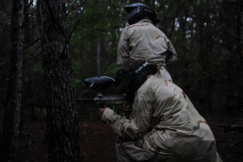 Junior ROTC cadets prepare to play paintball at Hurlburt Field, Fla., June 29, 2017. The JROTC Summer Leadership School program brought more than 50 cadets to Hurlburt Field to engage in a variety of team-building and leadership skill-developing exercises under the guidance of Air Commandos, June 26-30. (U.S. Air Force photo by Airman 1st Class Isaac O. Guest IV)