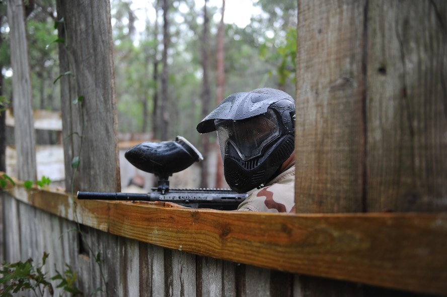 A Junior ROTC cadet prepares to play paintball at Hurlburt Field, Fla., June 29, 2017. The JROTC Summer Leadership School program brought more than 50 cadets to Hurlburt Field to engage in a variety of team-building and leadership skill-developing exercises under the guidance of Air Commandos, June 26-30. (U.S. Air Force photo by Airman 1st Class Isaac O. Guest IV)