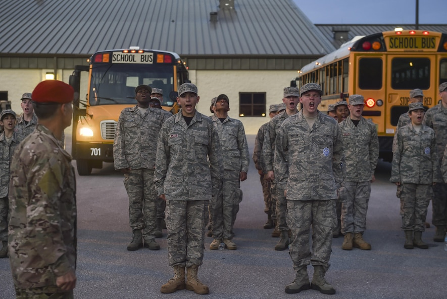 Junior ROTC cadets sound off in formation during Summer Leadership School at Hurlburt Field, Fla., June 27, 2017. Special Tactics Airmen partnered with more than 50 cadets from five local high schools for a week-long Summer Leadership Course to learn about leadership, teamwork, and self-confidence. (U.S. Air Force photo by Senior Airman Ryan Conroy)