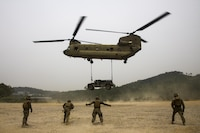 U.S. Marines assigned to Headquarters and Support Company, 3rd battalion, 8th Marine Regiment, forward deployed to the 3rd Marine Division, as part of the forward Unit Deployment Program, conduct Helicopter Support Team (HST) operations in support of the Korean Marine Exchange Program (KMEP) 17-11 at Sheep Seven Training Area, South Korea, June 19, 2017. KMEP is an annual bilateral training exercise that increases interoperability and combined capabilities of the ROK and U.S. Marine Corps Forces.