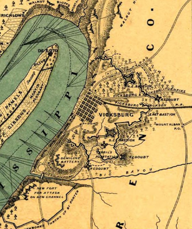 The Confederate defenses of Vicksburg are detailed on this detail of a postwar map (including the six forts Union engineers and sappers were working to defeat),