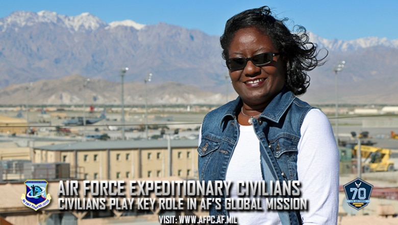 Melanie Jackson, a financial management specialist at the Pentagon, is currently serving as a budget account manager at Bagram Airfield, Afghanistan. At any one time, there are about 150 Air Force civilians deployed at various locations around the world. 