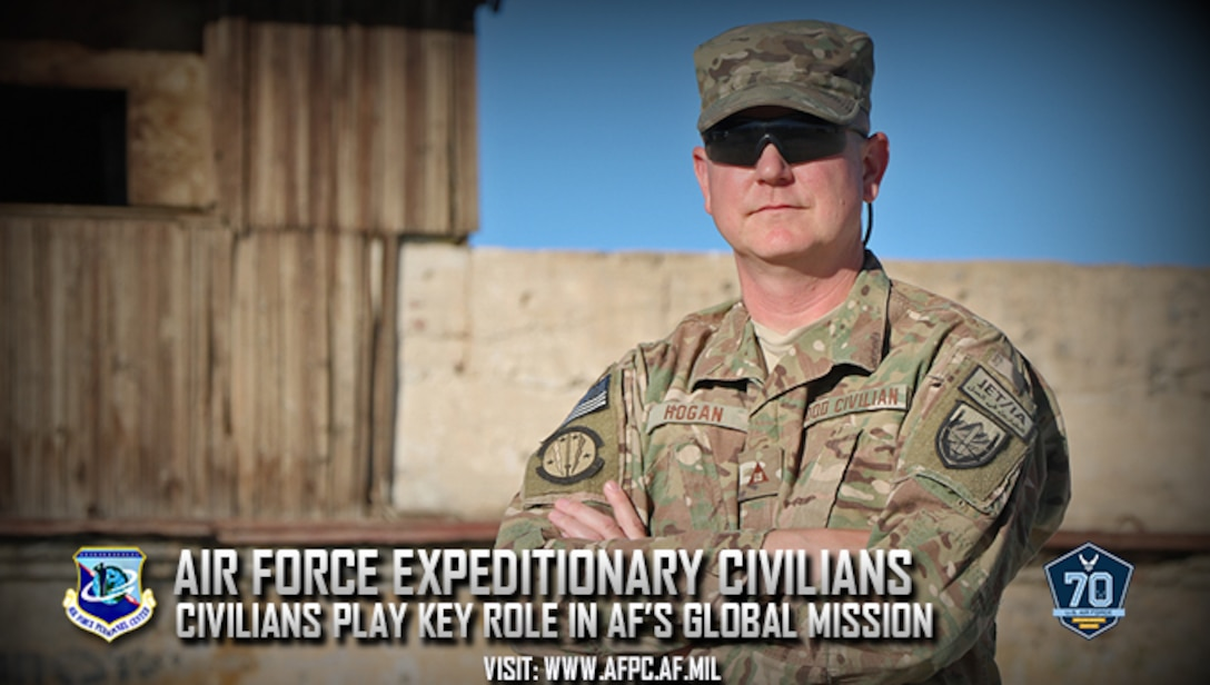 Jason Hogan, a general engineer at Robins Air Force Base, Georgia, is currently serving a one-year deployment at Bagram Airfield, Afghanistan. At any one time, there are about 150 Air Force civilians deployed at various locations around the world.  (U.S. Air Force Photo by Jathzed Fabara)