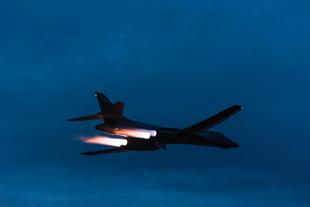 A U.S. Air Force B-1B Lancer assigned to the 9th Expeditionary Bomb Squadron, deployed from Dyess Air Force Base, Texas, takes off from Andersen Air Force Base, Guam to fly a bilateral mission with two Japan Air Self-Defense Force F-15's over the East China Sea, July 6, 2017. This mission marks the first time U.S. Pacific Command B-1B Lancers have conducted combined training with JASDF fighters at night, demonstrating our increasing combined capabilities. (U.S. Air Force photo by Airman 1st Class Jacob Skovo)