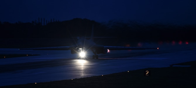 A U.S. Air Force B-1B Lancer assigned to the 9th Expeditionary Bomb Squadron, deployed from Dyess Air Force Base, Texas, takes off from Andersen Air Force Base, Guam to fly a bilateral mission with two Japan Air Self-Defense Force F-15's over the East China Sea, July 6, 2017. This mission marks the first time U.S. Pacific Command B-1B Lancers have conducted combined training with JASDF fighters at night, demonstrating our increasing combined capabilities. (U.S. Air Force photo/Tech. Sgt. Richard P. Ebensberger)