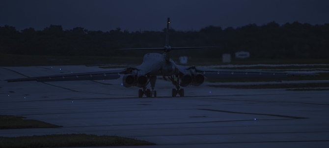 A U.S. Air Force B-1B Lancer assigned to the 9th Expeditionary Bomb Squadron, deployed from Dyess Air Force Base, Texas, prepares to take off from Andersen Air Force Base, Guam, to fly a bilateral mission with two Japan Air Self-Defense Force F-15's over the East China Sea, July 6, 2017. On conclusion of the bilateral operations, the B-1Bs proceeded to the South China Sea before returning to Andersen Air Force Base. The U.S. conducts continuous bomber presence (CBP) operations as part of a routine, forward deployed, deterrence capability supporting regional security and our allies in the Indo-Asia-Pacific region. (U.S. Air Force photo/Tech. Sgt. Richard P. Ebensberger)