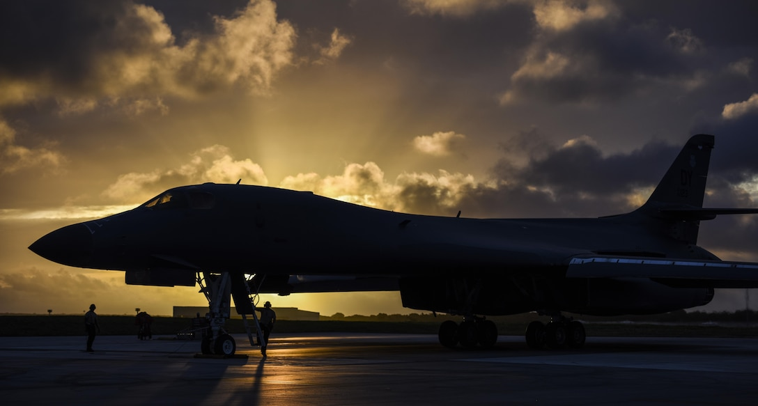 A U.S. Air Force B-1B Lancer assigned to the 9th Expeditionary Bomb Squadron, deployed from Dyess Air Force Base, Texas, prepares to take off from Andersen Air Force Base, Guam, to fly a bilateral mission with two Japan Air Self-Defense Force F-15's over the East China Sea, July 6, 2017. Bilateral training fosters increased interoperability between Japan and U.S. aircraft. Participating in bilateral training enables the operational units to improve their combined capabilities and tactical skills, while also building bilateral confidence and strong working relationships. (U.S. Air Force photo/Tech. Sgt. Richard P. Ebensberger)