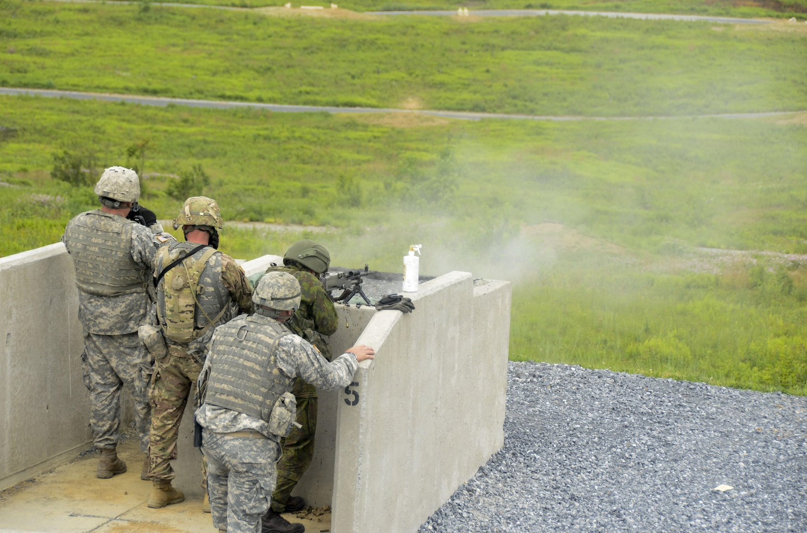 Lithuanian reserve component soldiers train with Soldiers from the Pennsylvania National Guard's 28th Infantry Division June 16, 2017, at Fort Indiantown Gap during the annual platoon exchange, part of the Pennsylvania National Guard's State Partnership Program.