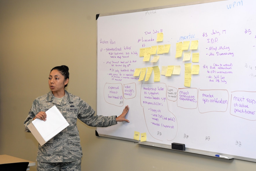 Tech. Sgt. Pearl Cook, 56th Force Support Squadron, Luke AFB, Arizona, explains the duties of a mentor during the Air Education Training Command Wing Process Manager Workshop at Joint Base San Antonio-Randolph June 29, 2017.  The three-day workshop brought together specialists from across AETC to foster new ideas to improve mission effectiveness.  (U.S. Air Force photo by Master Sgt. Andy Stephens)