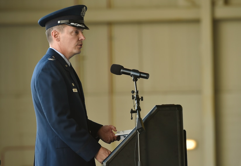 Col. Jeffrey Nelson, 628th Air Base Wing and Joint Base Charleston commander, shares his vision for the 628th ABW, installation and mission partners during a change of command ceremony at Nose Dock 2 here July 6, 2017. Nelson took command from Col. Robert Lyman, 628th ABW and Joint Base Charleston outgoing commander during the ceremony. U.S. Air Force Maj. Gen. Christopher Bence, U.S. Air Force Expeditionary Center commander, presided over the ceremony.
