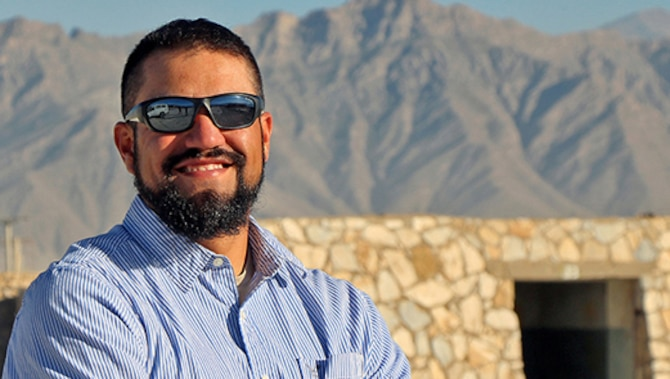 Jason Montano, an industrial workload specialist at Robins Air Force Base, Ga., is currently serving a one-year tour at Bagram Airfield, Afghanistan. At any one time, there are about 150 Air Force civilians deployed at various locations around the world. (U.S. Air Force Photo/Jathzed Fabara)