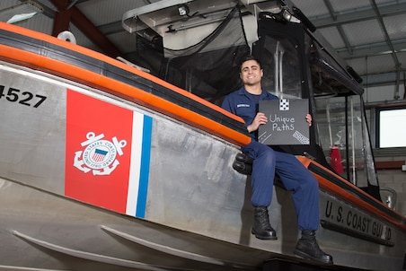 """1. What is your name and what do you do in the Coast Guard? """"My name is Gordon Martinez Diaz. I assist in conducting small boat search and rescue missions for STA Cape May. In addition to that I perform safety boarding's and law enforcement as a boarding team member.""""  2. Describe diversity in a word or two and explain what it means to you. """"Unique Path. I believe that people coming together from all walks of life is diversity. """"Strength lies in differences, not in similarities."""" Since the Coast is so diverse, we can look at a problem and see the solution through various thought processes. Using different walks of life, the Coast Guard members have an array of angles to view every situation.""""  3. How has your experience and background prepared you to be effective at your job? """"I am a proud Cuban American, and was raised to have a hard work ethic, strong morals, and to strive for excellence. My background has always pushed me to do my best and never give up. My experiences and hardships have made it easier for me to identify and mitigate hazards that could potentially affect my shipmates in a negative way.""""   4. Tell me a little bit about your life outside of work. """"I like long walks on the beach.""""  U.S. Coast Guard photo by Auxiliarist David Lau"""