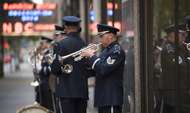 Tech. Sgt. Matthew Misener, U.S. Air Force Band trumpeter, plays the trumpet before a Today Show appearance in New York City, July 4, 2017. The band's ceremonial brass ensemble made an appearance at the Today Show for Independence Day celebrations and later performed at Yankee Stadium for opening ceremonies for a Yankees baseball game. (US Air Force Photo by Airman 1st Class Gabrielle Spalding)