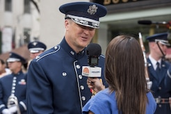Col. Larry H. Lang, U.S. Air Force Band commander, speaks to a Today Show reporter in New York City, July 4, 2017. The U.S. Air Force Band ceremonial brass ensemble and an Honor Guard color team traveled to New York for Independence Day celebrations with stops at the Today Show and New York Yankee Stadium. (US Air Force Photo by Airman 1st Class Gabrielle Spalding)