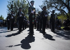 The U.S. Air Force Honor Guard marches in a Disneyland parade in Anaheim, Calif., June 28, 2017. In order to perform across the country with collective accuracy, the team practiced the routine approximately six times together before leaving Joint Base Anacostia-Bolling, District of Columbia, and prior to the start of each performance day on the trip. (U.S. Air Force photo by Senior Airman Jordyn Fetter)