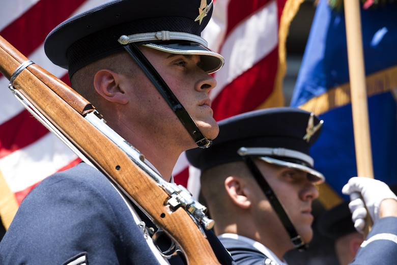 Staff Sgt. Scott Zawacki, U.S. Air Force Honor Guard ceremonial guardsman, stands at attention during the playing of the national anthem at Yankee Stadium in New York, July 4, 2017. The U.S. Air Force Band ceremonial brass quintet and an Honor Guard color team were there to represent the men and women of the U.S. Air Force and spread patriotism during the opening ceremonies at a Yankees baseball game. (US Air Force Photo by Airman 1st Class Gabrielle Spalding)
