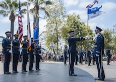 The U.S. Air Force Honor Guard enters a performance area at Disney's California Adventure Park in Anaheim, Calif., July 1, 2017. In order to perform across the country with collective accuracy, the team practiced the routine approximately six times together before leaving Joint Base Anacostia-Bolling, District of Columbia, and prior to the start of each performance day on the trip. (U.S. Air Force photo by Senior Airman Jordyn Fetter)