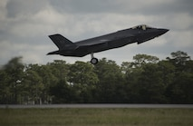An F-35A Lightning II departs for Exercise Red Flag 17-3 July 6, 2017, at Eglin Air Force Base, Fla. The 33rd Fighter Wing sent 7 F-35As and more than 120 personnel to Nellis Air Force Base, Nev., for Exercise Red Flag 17-3. Red Flag is the Air Force's premier international air-to-air combat training exercise that provides a realistic environment to train a variety of domains: air, ground, space and cyberspace. (U.S. Air Force photo by Staff Sgt. Peter Thompson/Released)