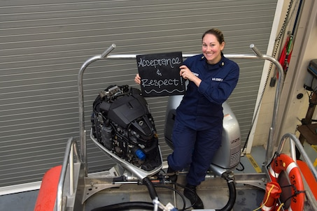 """1. What is your name and what do you do in the Coast Guard? """"I'm Kasey Stamper and I am an engineer, boarding officer and boat crew member at Station Cape May. I assist with the repair/replacement of all mechanical aspects, as well as respond to Search and Rescue and conduct Law Enforcement.""""  2. Describe diversity in a word or two and explain what it means to you. """"I chose acceptance and respect to represent diversity because it best depicts what our country represents.""""   3. How has your experience and background prepared you to be effective at your job? """"My background and experience has prepared me to be effective at my job because I joined the Coast Guard at a later age and was able to mature and build a solid work-ethic to base my career off of.""""   4. Tell me a little bit about your life outside of work. """"Outside of work, I enjoy everything sun, sand, and saltwater related! I also work out and play video games!""""  U.S. Coast Guard photo by Auxiliarist David Lau"""