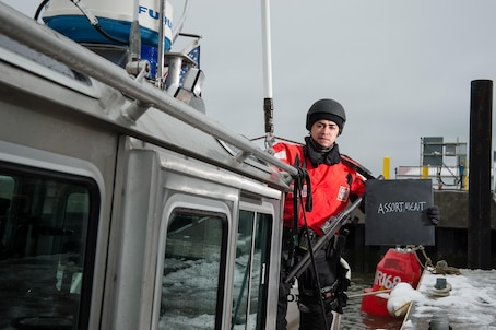 """1. What is your name and what do you do in the Coast Guard? """"My name is Mario Guzman. I am a 3rd Class Maritime Enforcement Specialist. My job expectations are to conduct Ports, Waterways and Coastal Security missions, Antiterrorism and Force Protection measures and instruct junior personnel in Coast Guard law enforcement procedures.""""  2. Describe diversity in a word or two and explain what it means to you. """"Assortment. I believe that Diversity is an assortment of people with different backgrounds that all contribute different knowledge to our service.""""  3. How has your experience and background prepared you to be effective at your job? """"The training I received from the Coast Guard through various schools and qualifications at Station Yankeetown prior to becoming a Maritime Enforcement Specialist has helped me to be effective in my current position.""""  4. Tell me a little bit about your life outside of work. """"Outside of work, my wife Diana and I like to use our time to explore Cape May and the surrounding area. We also enjoy traveling back home to Puerto Rico to visit family and friends.""""  U.S. Coast Guard photo by Auxiliarist David Lau"""