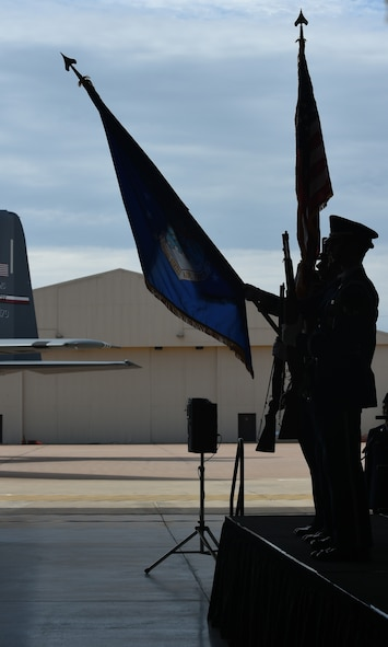 Members of Dyess Honor Guard present the colors during the 317th Airlift Wing activation ceremony at Dyess Air Force Base, Texas, July 6, 2017. Col. David Owens assumed command of the 317th AW, which is now comprised of two groups and five squadrons: the 317th Operations Group,317th Maintenance Group  39th Airlift Squadron, 40th Airlift Squadron, 317th Operations Support Squadron, 317th Aircraft Maintenance Squadron, and 317th Maintenance Squadron. (U.S. Air Force photo by Airman 1st Class Emily Copeland)