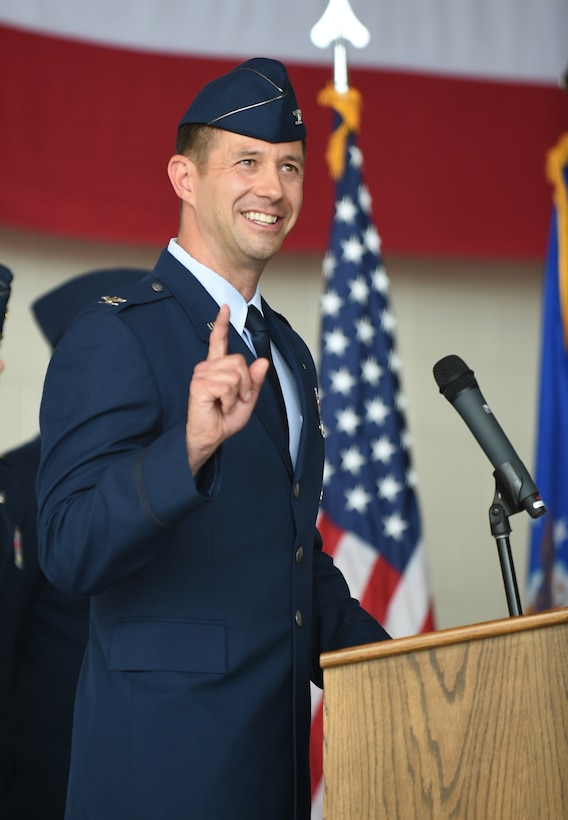 U.S. Air Force Col. William Maxwell, 317th Maintenance Group commander, gives his remarks after assuming command at Dyess Air Force Base, Texas, July 6, 2017. The 317th MXG supports the nation's war-fighting capabilities by performing flightline and expert equipment maintenance on all assigned C-130H Hercules and C-130J Super Hercules aircraft accomplishing global reach missions. (U.S Air Force photo by Airman 1st Class Emily Copeland)