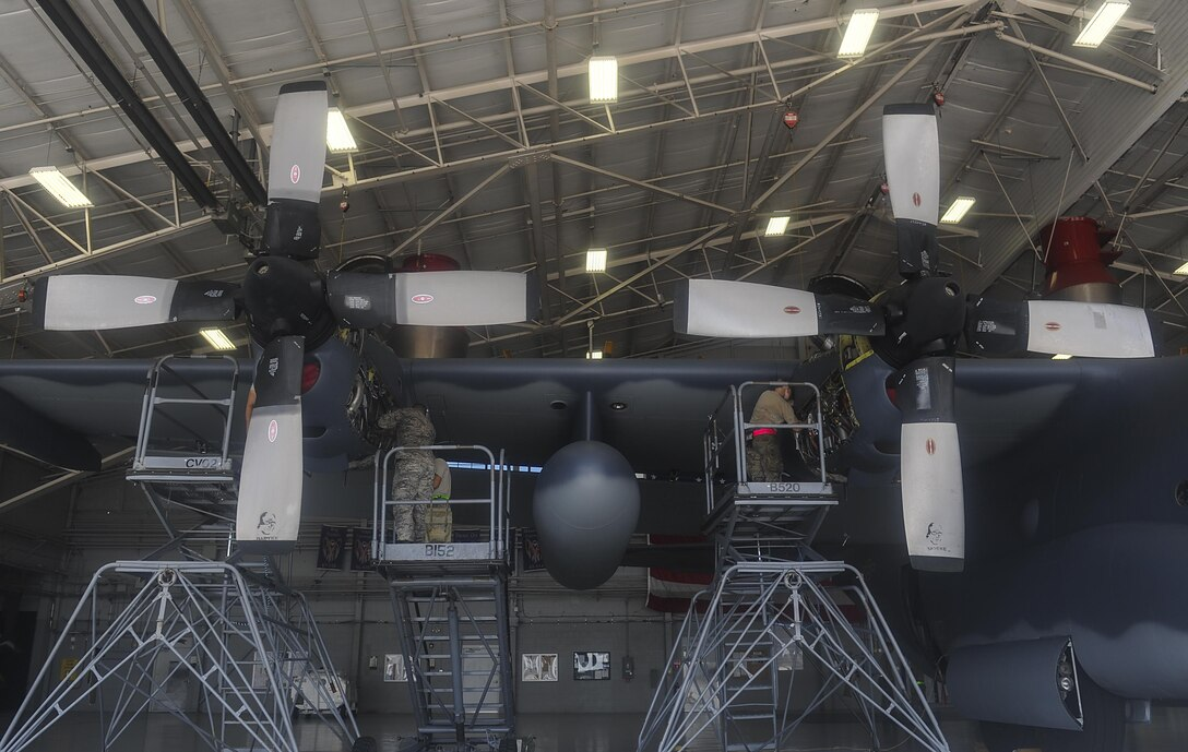 Air Commandos with the 1st Special Operations Aircraft Maintenance Squadron conduct maintenance on the engines of an AC-130U Spooky gunship at Hurlburt Field, Fla., July 6, 2017. The AC-130U is one of the Air Force's premiere multi-role aircraft. It is used for missions such as close-air support, air interdiction and armed reconnaissance. (U.S. Air Force photo by Airman 1st Class Rachel Yates)