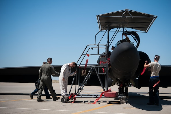 Crew chiefs with the 9th Aircraft Maintenance Squadron apply safing measures to a U-2 Dragon Lady after it has been recovered at Beale Air Force Base, Calif., June 20, 2017. The U-2 is a single-seat, single-engine, high-altitude/near space reconnaissance and surveillance aircraft providing signals, imagery, and electronic measurements and signature intelligence.