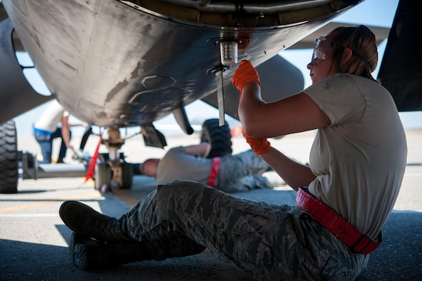 Airman 1st Class Dedrie Flowers, 9th Air Maintenance Squadron crew chief, takes an oil sample from a U-2 Dragon Lady after its high altitude flight at Beale Air Force Base, Calif., June 20, 2017. Preventative maintenance done by crew chiefs helps ensure any potential mechanical issues are mitigated and repaired.