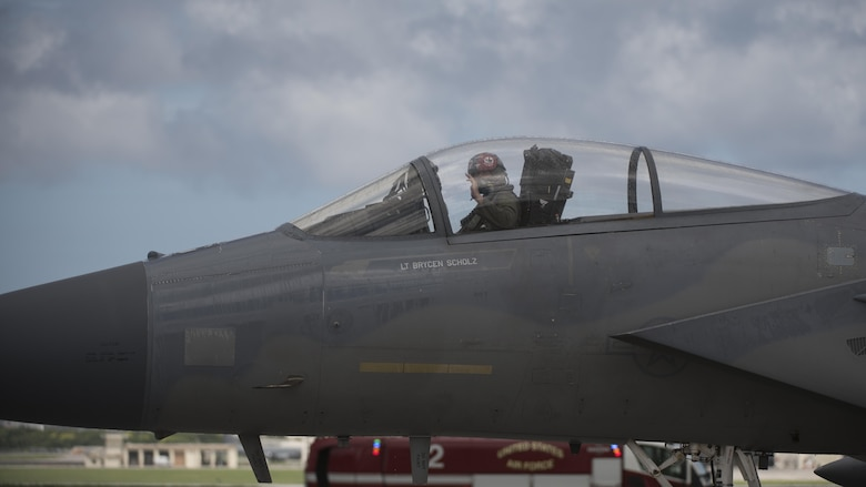 U.S. Air Force Brig. Gen. Barry Cornish, 18th Wing commander, waves from the cockpit of an F-15 Eagle from the 67th Fighter Squadron during his final flight June 29, 2017, at Kadena Air Base, Japan. Cornish has been the commander of the 18th Wing since April 2015. (U.S. Air Force photo/ Airman 1st Class Greg Erwin)