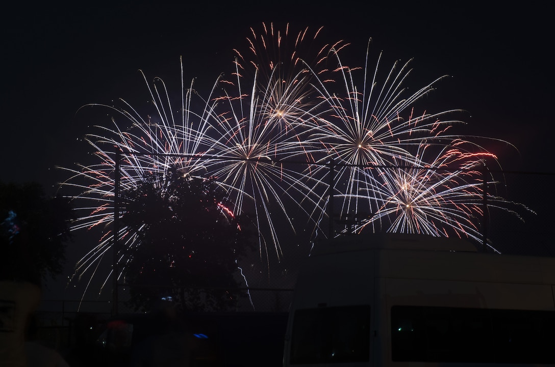 Fireworks are displayed in celebration of Independence Day July 4, 2017, at Incirlik Air Base, Turkey. Multiple private organizations from across the base hosted the event with music, food and festivities. (U.S. Air Force photo by Airman 1st Class Devin M. Rumbaugh)