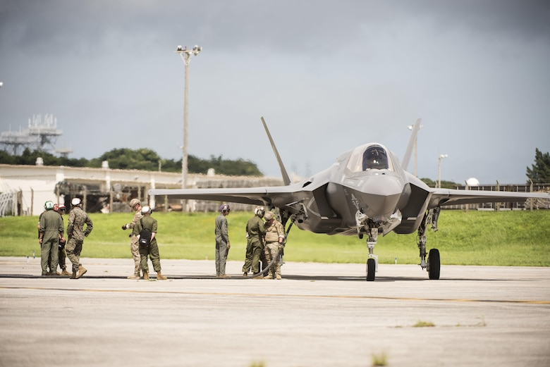 U.S. Air Force 353rd Special Operations Group, 18th Logistics Readiness Squadron, and Marine Wing Support Squadron 172 refueling teams refuel a Marine Fighter Attack Squadron 121 F-35B Lightning II during a forward area refueling point joint training exercise June 27, 2017, at Kadena Air Base, Japan. FARP enables the Air Force to perform a wide range of missions across multiple domains and brings the most advanced technologies and capabilities of the U.S. military to the region by enabling aircraft to land, refuel and take off again.  (U.S. Air Force photo by Senior Airman Omari Bernard)