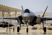 A Norwegian F-35 Lightning II taxis in after landing on the runway June 29, 2017, at Luke Air Force Base, Ariz. This marks the seventh Norwegian F-35 to arrive at Luke. (U.S. Air Force photo/Airman 1st Class Alexander Cook)