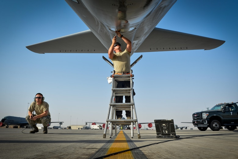 A 340th Aircraft Maintenance Unit maintainer, adjusts the window of a KC-135 Stratotanker boom pod before a flight in support of Operation Inherent Resolve July 3, 2017, at Al Udeid Air Base, Qatar. The KC-135 provides aerial refueling capabilities to U.S. and coalition forces working to liberate territory and people from the control of ISIS. (U.S. Air Force photo/Staff Sgt. Michael Battles)