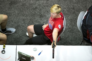 Marine Corps Staff Sgt. Danielle Pothoof competes in pistol shooting during the 2017 Department of Defense Warrior Games in Chicago, July 6, 2017. The Warrior Games allow wounded, ill and injured service members and veterans to compete in Paralympic-style sports. DoD photo by EJ Hersom