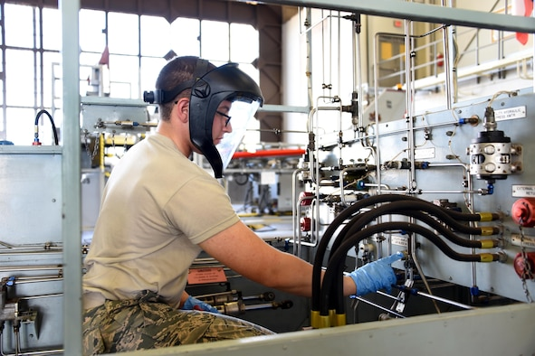 Airman Vincent Dinezza, 364th Training Squadron aircraft hydraulics apprentice operates the flight hydraulic trainer at Sheppard Air Force Base, Texas. This course is nine weeks long, with a total of eight blocks. (U.S. Air Force photo/Liz H. Colunga)