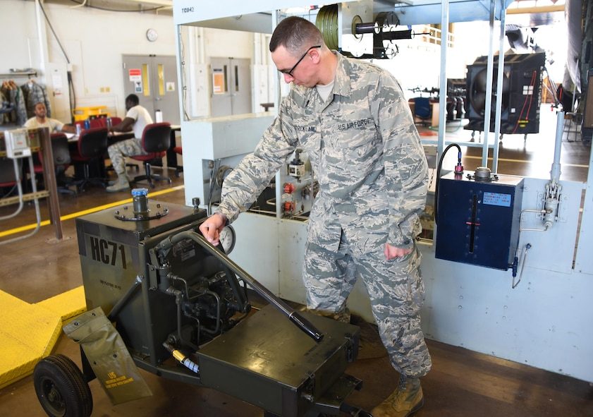 Airman John Strickland, 364th Training Squadron aircraft hydraulics apprentice operates the hydraulic servicing cart at Sheppard Air Force Base, Texas. This course is nine weeks long, with a total of eight blocks. (U.S. Air Force photo/Liz H. Colunga)