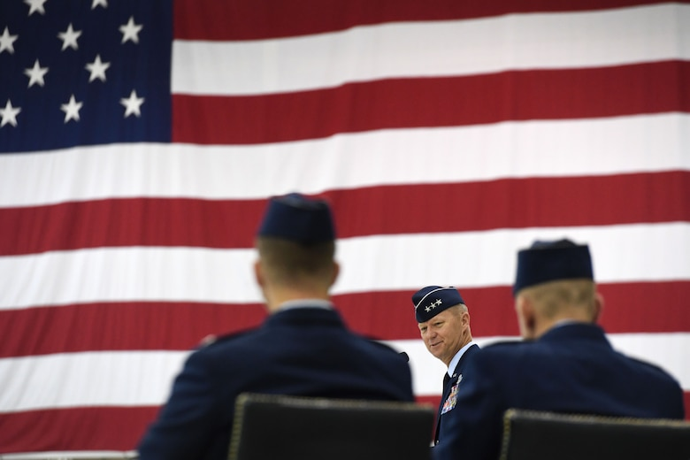 Lt. Gen. Mark Kelly, 12th Air Force commander, presides over the 432nd Wing change of command ceremony July 6, 2017, at Creech Air Force Base, Nev. During the event, the general bid farewell to Col. Case Cunningham while welcoming Col. Julian Cheater. (U.S. Air Force photo/Airman 1st Class James Thompson)