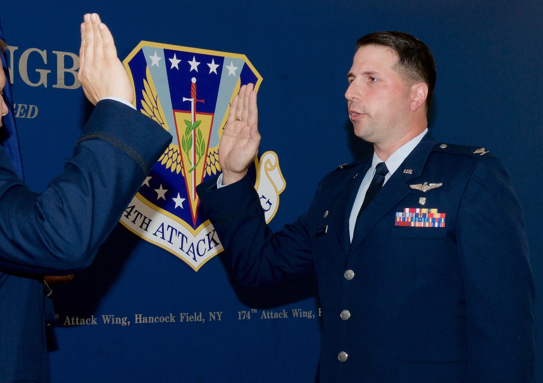 New York Air National Guard, Lt Col. Martin Stallone is promoted to the rank of Colonel on July 5, 2017, at Hancock Field Air National Guard Base in Syracuse, New York. Col. Stallone is currently the 174th Attack Wing, Medical Group commander, overseeing the health and wellness of over 2,000 airmen for the 174th Attack Wing and the Eastern Air Defense Sector. (U.S. Air National Guard photo by Master Sgt. Lillique A. Ford)