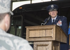 Col. William H. Kale III, former 11th Mission Support Group commander, speaks during the 11th MSG change of command ceremony at Joint Base Andrews, Md., July 6, 2017. Kale relinquished his command of the group to Col. Bradley L. Johnson. Col. E. John Teichert, 11th Wing and JBA commander, presided over the ceremony. (U.S. Air Force photo by Senior Airman Jordyn Fetter)