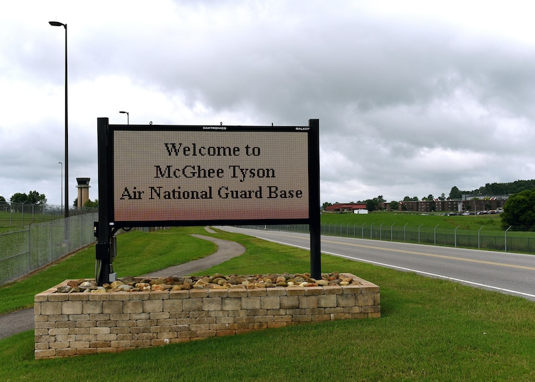 An electronic sign welcomes drivers to McGhee Tyson Air National Guard Base in East Tennessee. The base's and airport's McGhee Tyson name honor Navy Lt. j.g. Charles McGhee Tyson who was assigned in the U.S. Naval Reserve Flying Corps during World War I. McGhee Tyson died while serving as bow gunner on a Oct. 11, 1918, seaplane mission from Naval Air Station Killingholme on England's east coast. (U.S. Air National Guard photo by Master Sgt. Mike R. Smith)