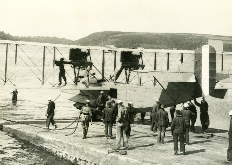 A Curtiss H-16 patrol seaplane at the Killingholm, England, U.S. Naval Air Station, Jul 03, 1918. (Photo courtesy Naval History and Heritage Command)