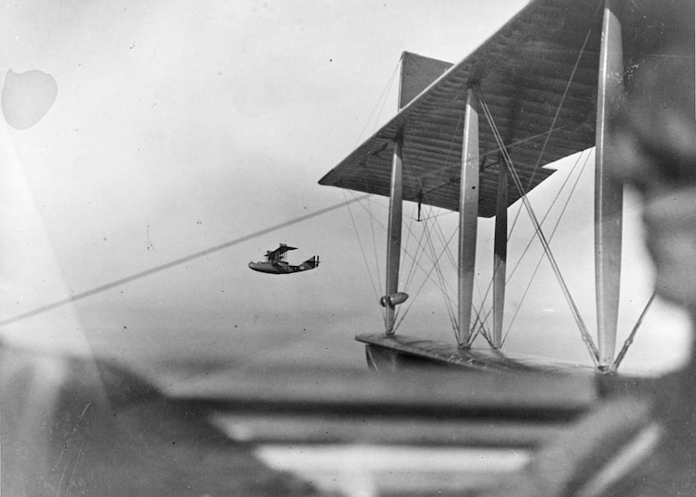 A Curtiss H-16 patrol seaplane on a reconnaissance flight from U.S. Naval Air Station, Killingholm, England, Nov. 06, 1918. (Photo courtesy Naval History and Heritage Command)