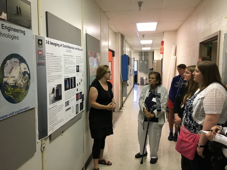 Dr. Zoe Courville of the Cold Regions Research and Engineering Laboratory shares her work on 3-D imaging of ice to a group of university and college professors visiting from Dartmouth College's School of Ice.