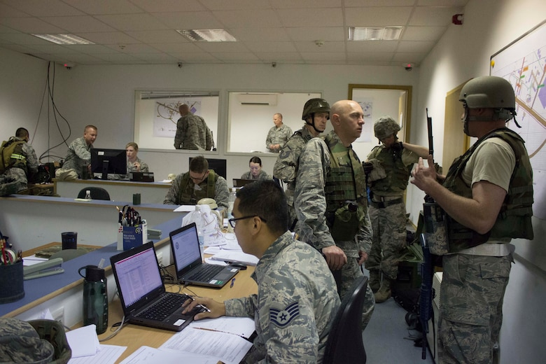 Silver Flag students assigned to the unit control center trained for wartime scenarios at Ramstein Air Base, Germany, recently to prepare them for various wartime scenarios. AFCEC validates training to ensure wartime training standards are met.  (U.S. Air Force Photo/Susan H. Lawson)