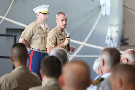 The incoming commanding officer, Col. David M. Fallon, addresses service member, families and friends during the 9MCD Change of Command ceremony aboard Naval Station Great Lakes, Ill., on July 7, 2017. (U.S. Marine Corps photo by Sgt. Jennifer Webster/Released)