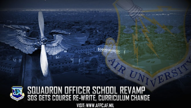 Air University redesigned its Squadron Officer School at Maxwell Air Force Base, Alabama, to produce a better-equipped force. The course expanded from five to six-and-a-half weeks, starting with Class 18A on July 31, and has a new curriculum. (U.S. Air Force graphic by Kat Bailey)
