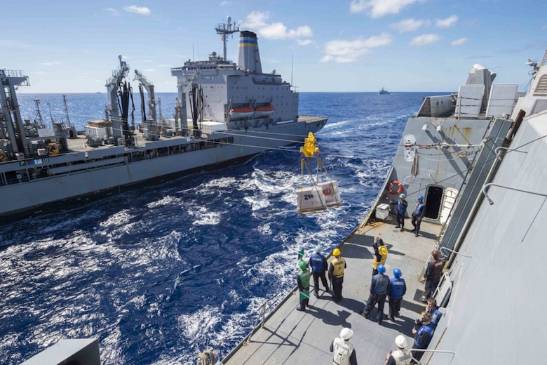 Sailors assigned to the amphibious transport dock USS Green Bay (LPD 20) prepare to receive cargo from the military sealift command underway replenishment oiler USNS Rappahannock (T-AO 204) during a replenishment-at-sea and as part of Talisman Saber 17. Green Bay, part of a combined U.S. -Australia-New Zealand expeditionary strike group, is undergoing a series of scenarios that will increase naval proficiencies in operating against blue-water adversarial threats and in its primary mission of launching Marine forces ashore in the littorals. Talisman Saber is a biennial U.S. -Australia bilateral exercise held off the coast of Australia meant to achieve interoperability and strengthen the U.S. -Australia alliance.